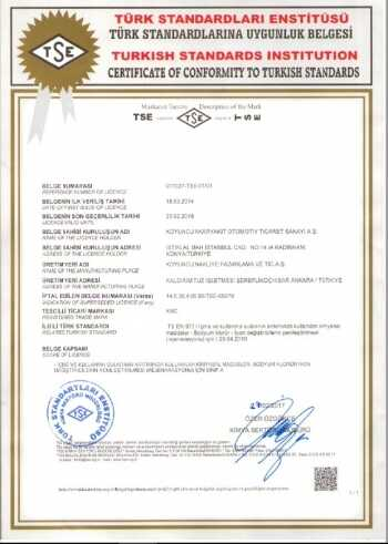 Turkish Standarts Institution Certificate - Koyuncu Salt